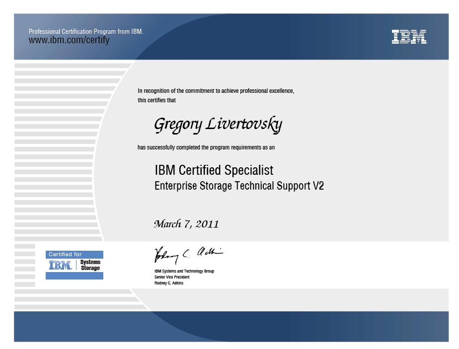 ibm certified storage support certification specialist enterprise technical v2 professional aix eserver recognition resume web